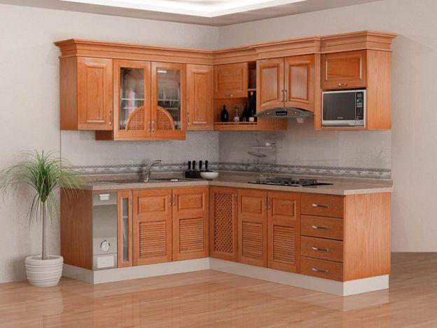 tủ bếp gỗ mang đến không gian ấm áp