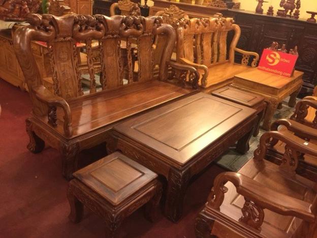 bộ bàn ghế gỗ hương cột