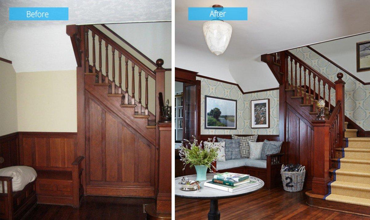 sửa chữa cầu thang gỗ trước và sau tại mộc phú quảng